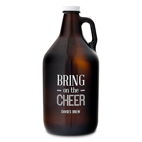 Bring on the Cheer Print Glass Beer 64 oz. Growler by Weddingstar