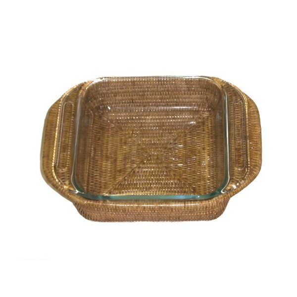 Rattan Square Baker Basket with Pyrex Included by artifacts trading