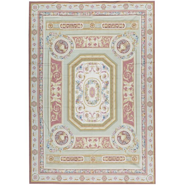 One-of-a-Kind Aubusson Renaissance Hand-Knotted Green/Pink 11' x 16'1 Wool Area Rug