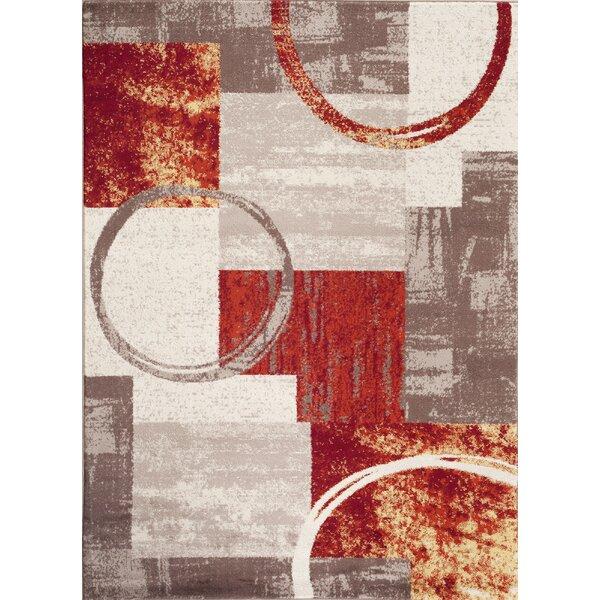 Geneva Red/Gray/Beige Area Rug by Trent Austin Design