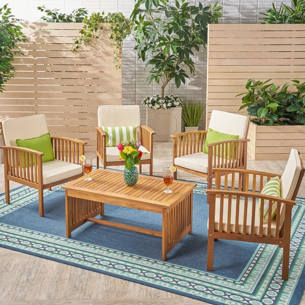 Safira Outdoor 5 Piece Conversation Set with Cushions by Beachcrest Home
