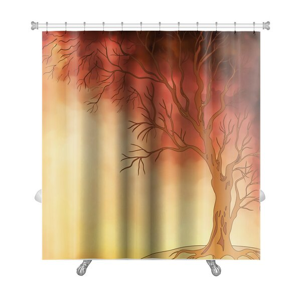 Nature Watercolor Landscape with Autumn Tree Digital Painting Premium Shower Curtain by Gear New