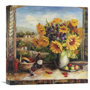 'Sunflowers With Fruit And Wine II' by Hong Painting Print on Wrapped Canvas by Global Gallery