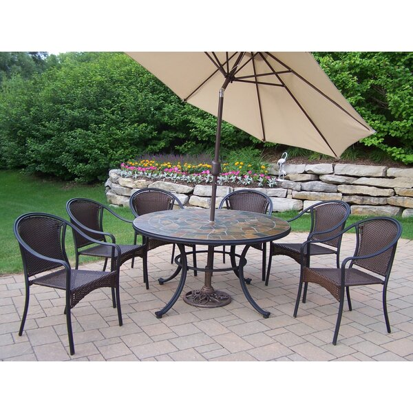 Neche Dining Set with Umbrella by Winston Porter
