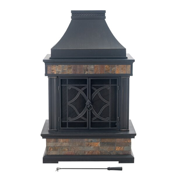 Heirloom Steel/Stone Wood Burning Outdoor Fireplace By Sunjoy