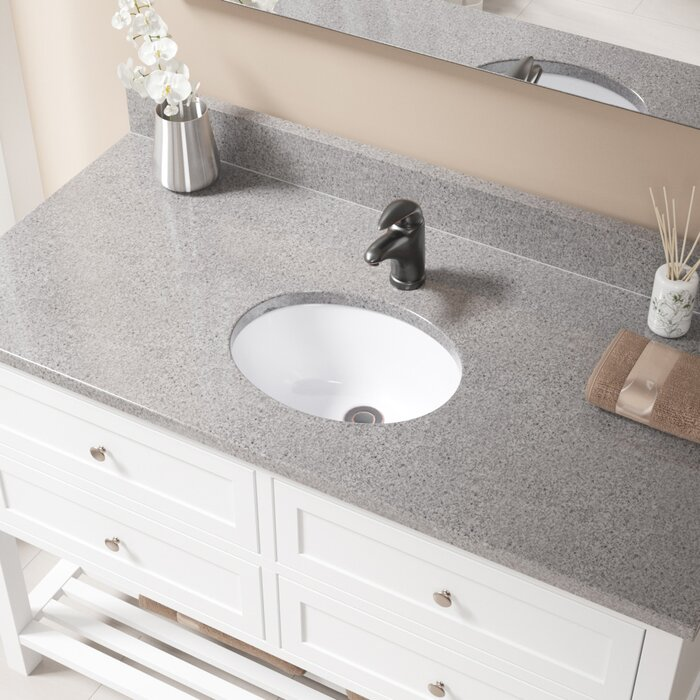 High Quality Vitreous China Oval Undermount Bathroom Sink With Overflow