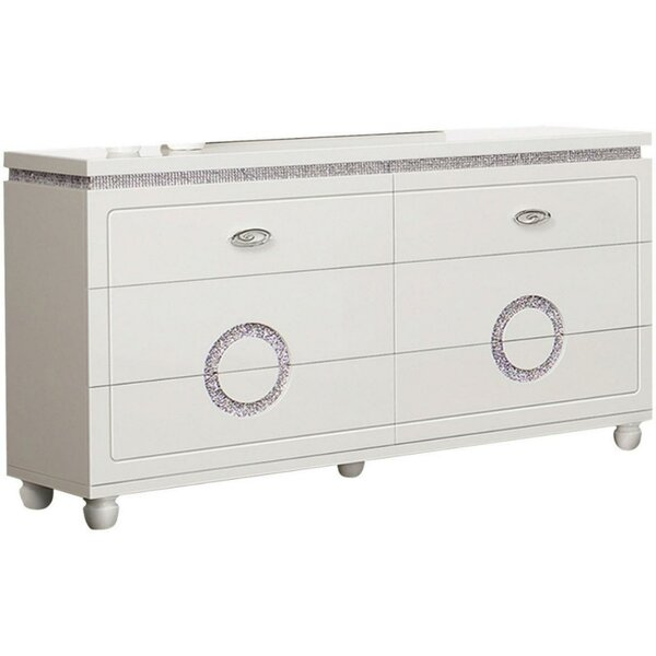 Keisha Wood 6 Drawer Double Dresser by Everly Quinn