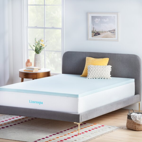 2 Gel Memory Foam Mattress Topper by Linenspa