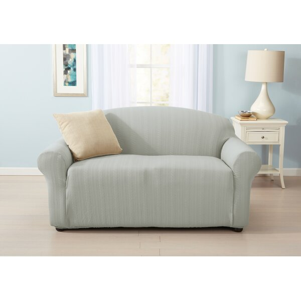 Darla Cable Knit Box Cushion Loveseat Slipcover by Home Fashion Designs