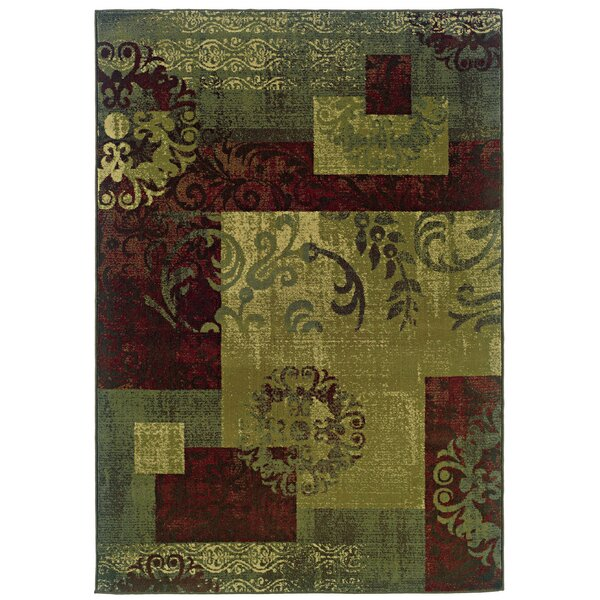 Midland Green/Red Area Rug by Threadbind