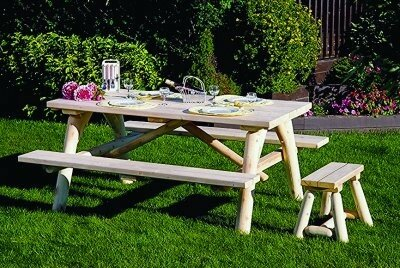 Olvera Log Wooden Picnic Table with Additional Benches by Loon Peak