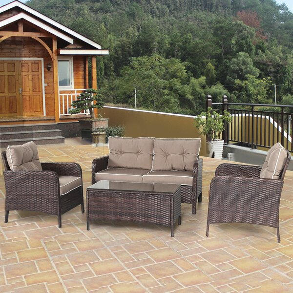 Gaskins 4 Piece Rattan Sofa Seating Group with Cushions by Winston Porter