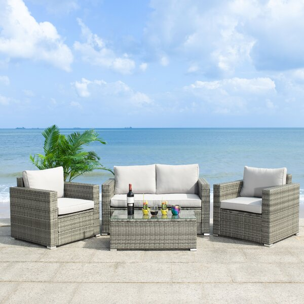 Machie 4 Piece Rattan Sofa Seating Group With Cushions By Latitude Run