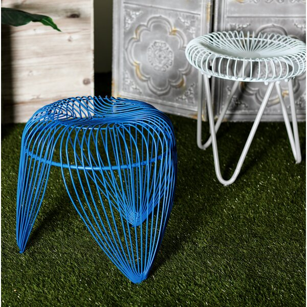 Gillum Contemporary Iron Basket-Inspired Garden Stool by Bungalow Rose