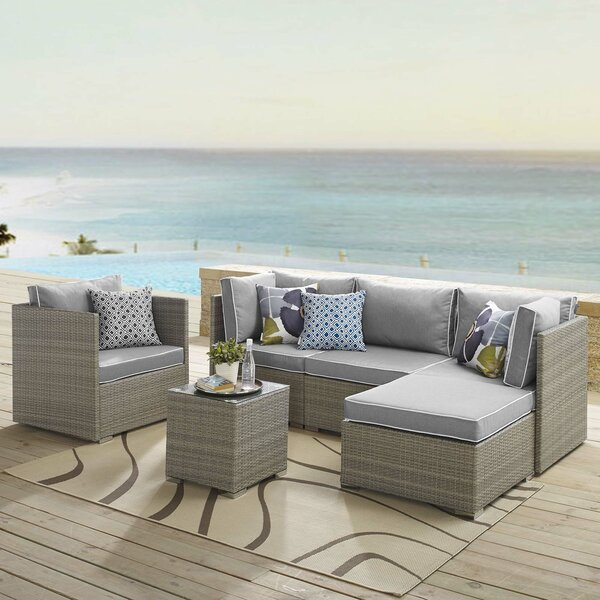 Heinrich Outdoor Patio 6 Piece Rattan Sectional Seating Group With Sunbrella Cushions By Highland Dunes by Highland Dunes Coupon