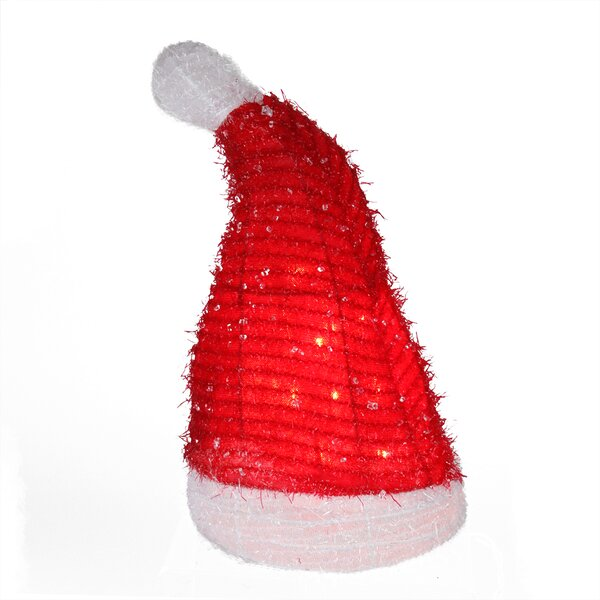Lighted Iced Tinsel Santa Hat Christmas Tree Topper by Northlight Seasonal