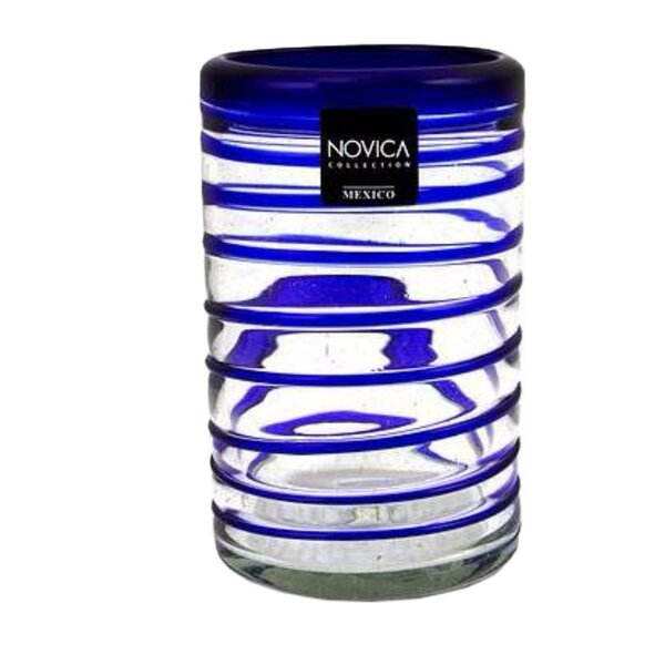 Striped Hand Blown Recycled 14 Oz. Water Glass (Set of 6) by Novica