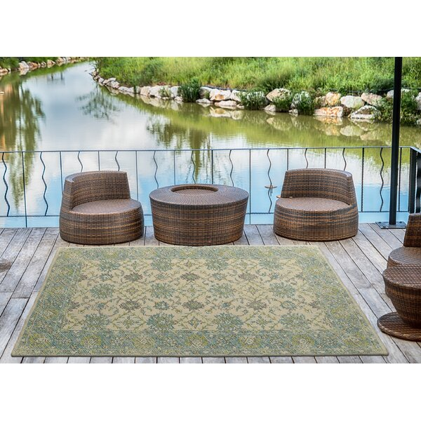 Dittmar Handmade Teal Indoor/Outdoor Area Rug by Charlton Home
