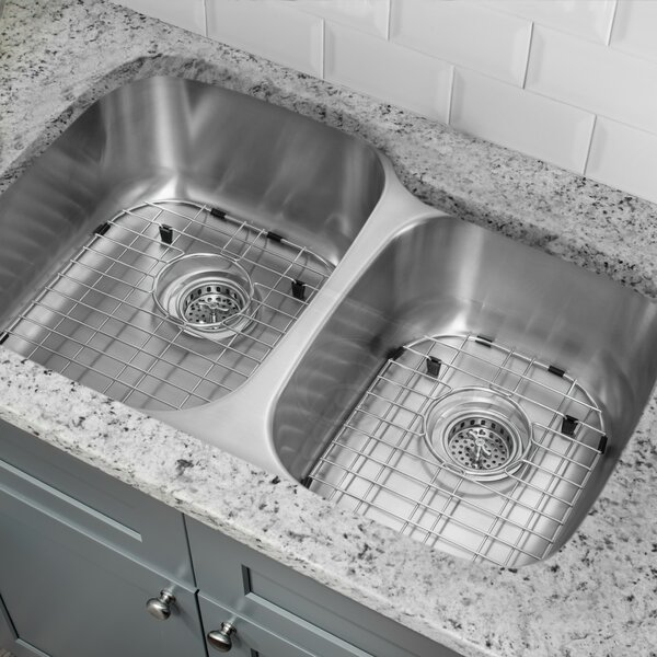 32 L x 18 W Double Basin Undermount Kitchen Sink with Grid Sets and Drain Assemblies by Cahaba