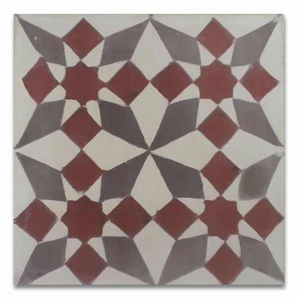 Joana 8 x 8  Handmade Cement Tile in Red/Gray by Moroccan Mosaic