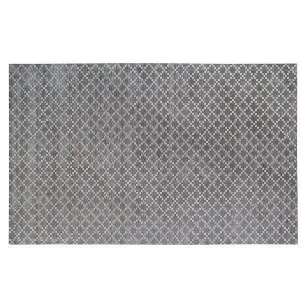 Teressa Diamond Hand-Woven Wool Gray Area Rug by Mercer41