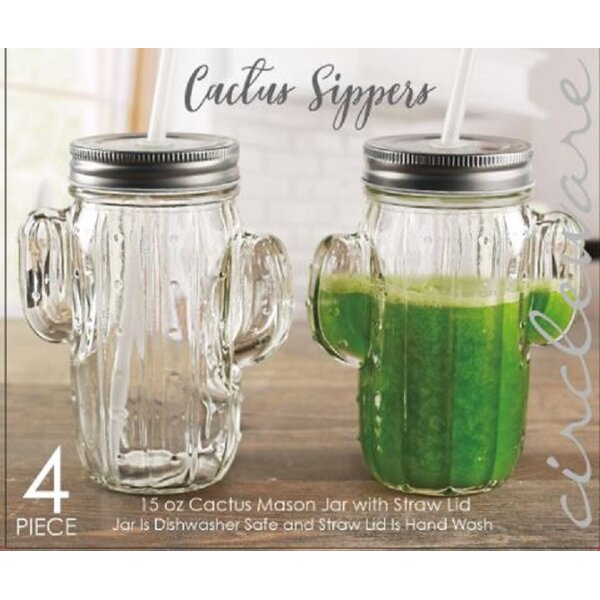 Soho Cactus 15.5 oz. Glass Mason Jar (Set of 4) by Wrought Studio