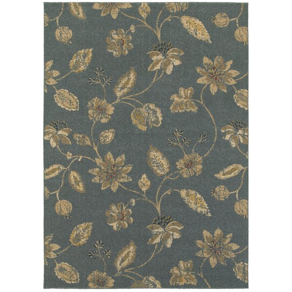 Enid Classic Floral Gray Area Rug by Alcott Hill