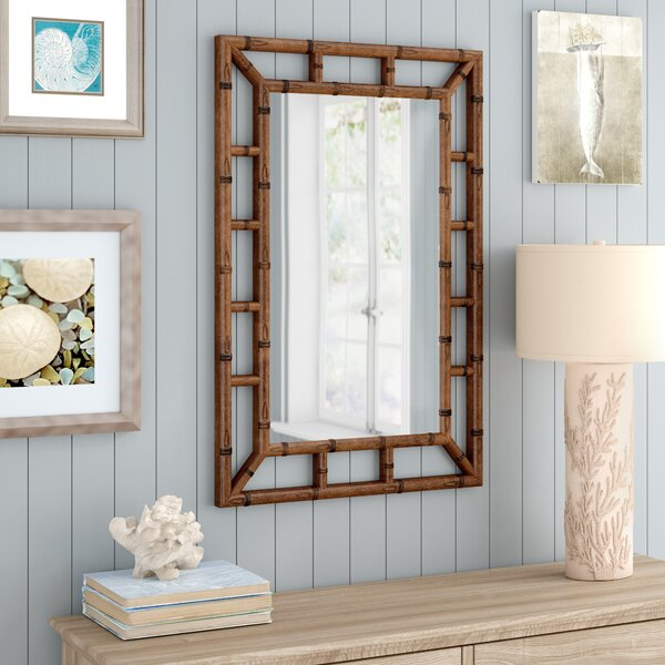 Cleta Bamboo Brown Wall Mirror by Beachcrest Home