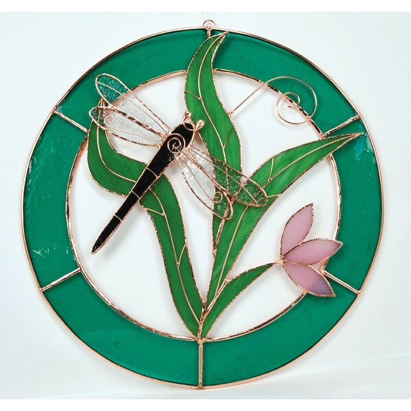 Dragonfly Teal Circle Frame Window Panel by August Grove