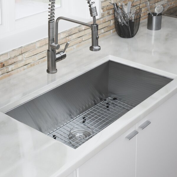 Zero Radius 32 L x 19 W Kitchen Sink by Ticor Sinks