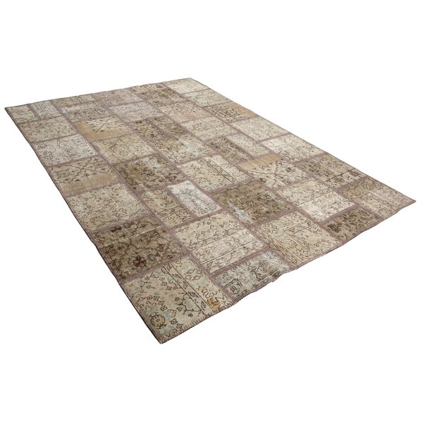 Kayla Patchwork Hand-Knotted Wool Beige Area Rug by Bloomsbury Market