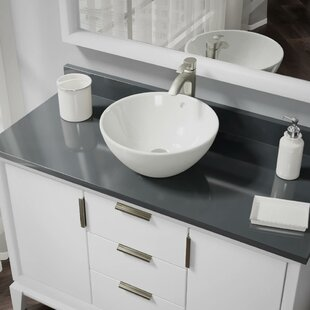 Inexpensive Vitreous China Circular Vessel Bathroom Sink With Faucet and Overflow ByRené By Elkay