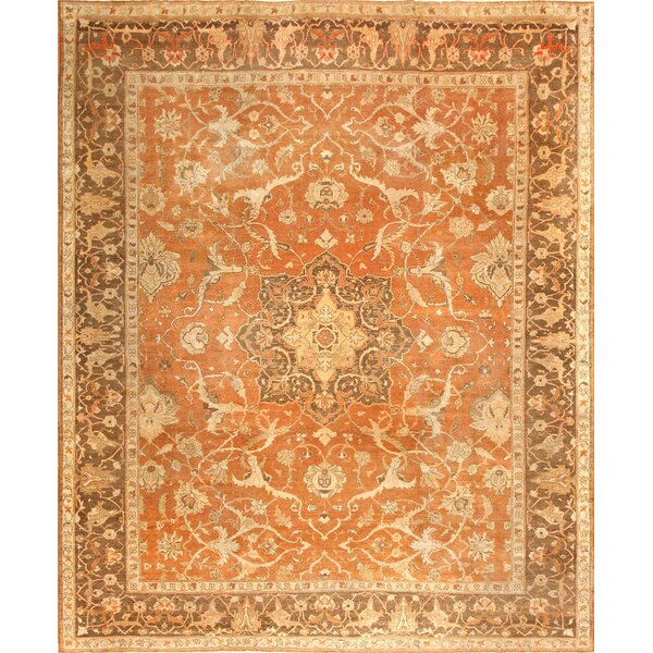 One-of-a-Kind Amritsar Hand-Knotted Orange 10'8 x 13'3 Wool Area Rug