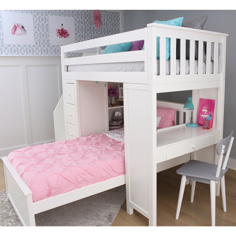 Harriet Bee Desilets Twin Over Twin L-Shaped Bunk Bed with Shelves ...