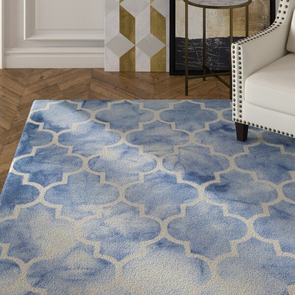 Hand-Tufted Wool Blue/Ivory Area Rug by House of Hampton