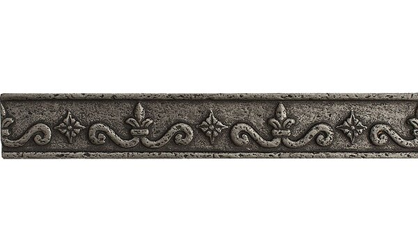 8 x 1.25 Renaissance Border Accent Tile in Pewter by Parvatile