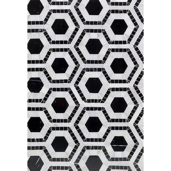 Kosmos Random Sized Marble Mosaic Tile in Asian Statuary/Black by Splashback Tile