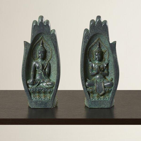 Lechner Namaskara Mudra Buddha Hand 2 Piece Figurine Set by World Menagerie