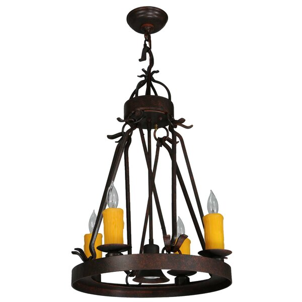 Lakeshore 5-Light Candle Style Wagon Wheel Chandelier By Meyda Tiffany