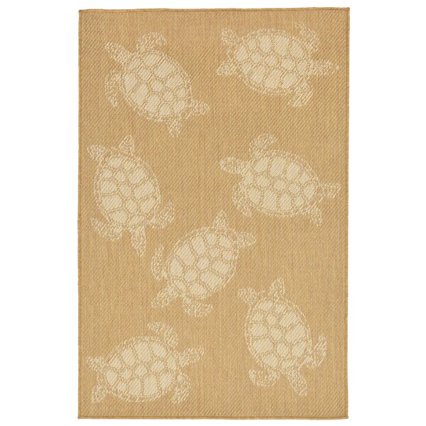 Clatterbuck Seaturtle Almond/Camel Indoor/Outdoor Area Rug by Highland Dunes