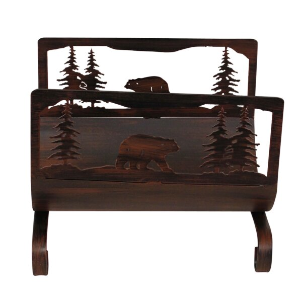 Bear Scene Wood Log Carrier by Coast Lamp Mfg.