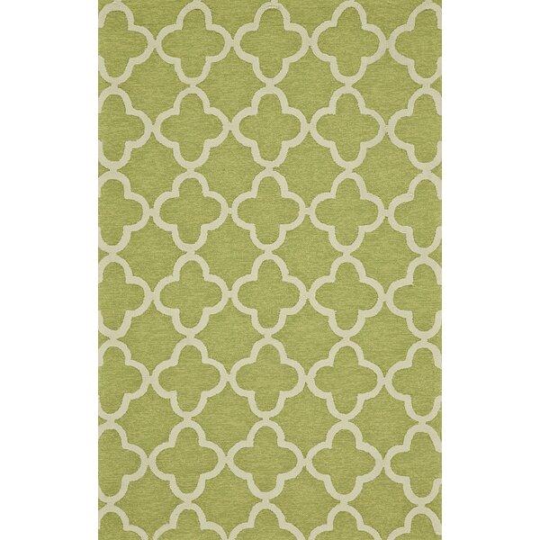 Geometric Handmade Tufted Green Indoor / Outdoor Area Rug