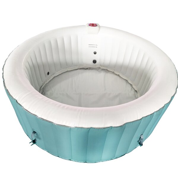 Round Hot Tub 4-Person 130-Jet Inflatable Plug and Play Spa by ALEKO