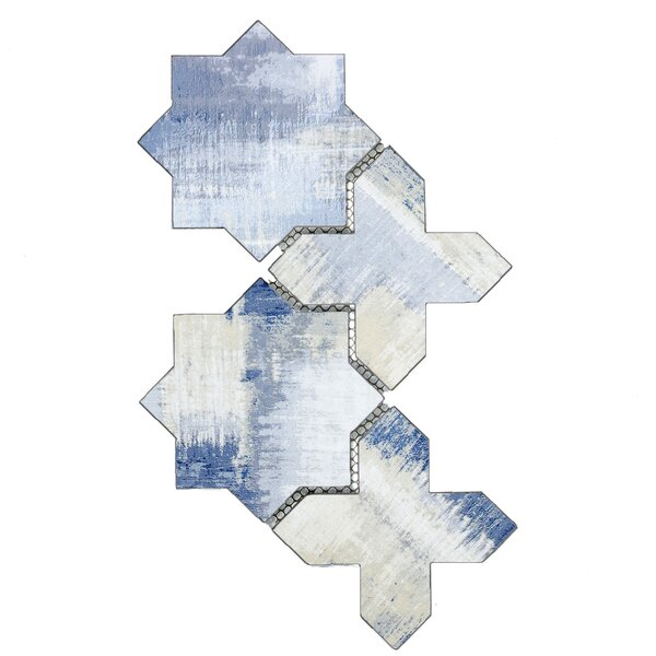 Nature Celestial 6 x 6 Glass Patterned Tile in Cement Blue/Tan by Abolos