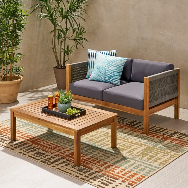 Silke Modern Outdoor 2 Piece Sofa Seating Group with Cushions by Ivy Bronx