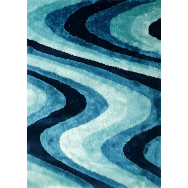 Osteen Shaggy Hand-Tufted Turquoise Area Rug by Orren Ellis