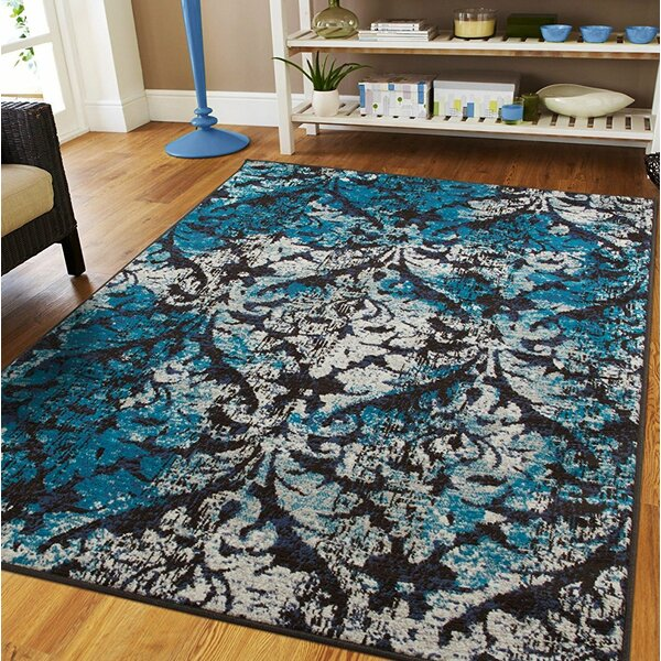 Bethzy Black/Blue Indoor/Outdoor Area Rug by House of Hampton