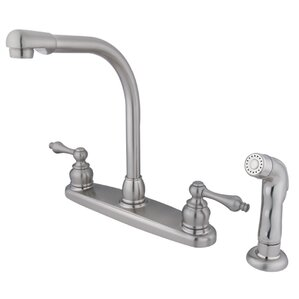 Kingston Brass Victorian Double Handle CentersetHigh Arch Kitchen Faucet with Non-Metallic Spray