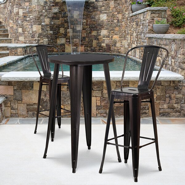 Isla 3 Piece Bar Height Dining Set by Williston Forge
