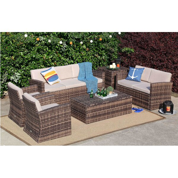 Kylen 6 Piece Rattan Sofa Seating Group with Cushions by Highland Dunes